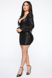 Ice Baby Sequin Mini Dress - Black Angle 3
