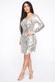 Live Fancy Sequin Mini Dress - Silver