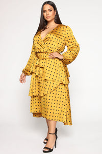 Easily Spotted Satin Maxi Dress - Mustard
