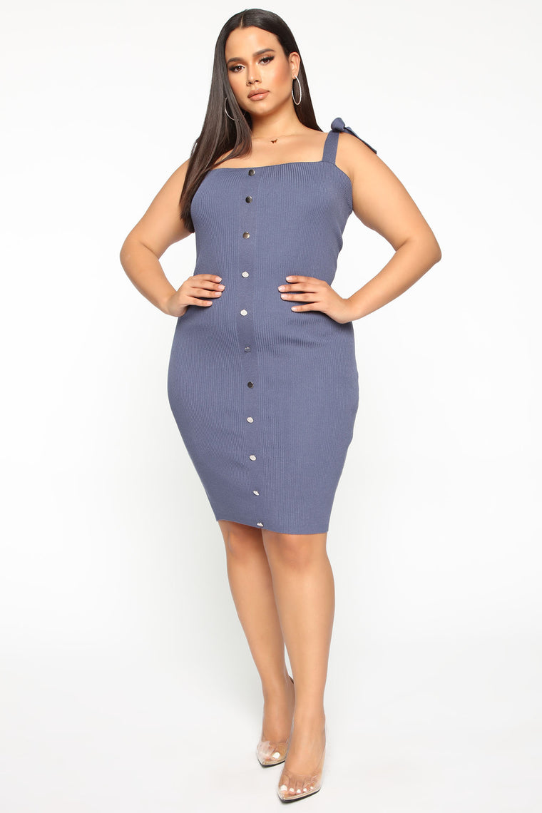 Make Me Laugh Mini Dress - Denim