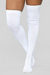 You Kneed This Knee High Socks   White by Fashion Nova