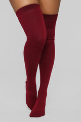 You Kneed This Knee High Socks   Burgundy by Fashion Nova