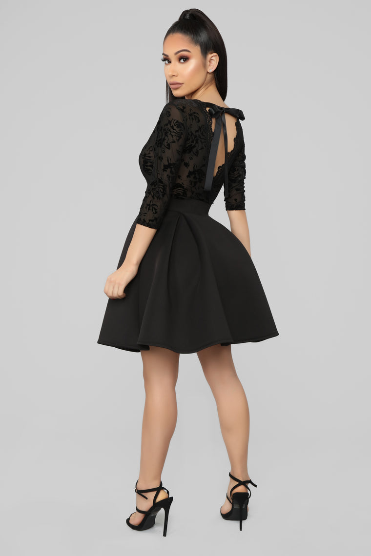 Expecting An Invitation Fit And Flare Dress - Black