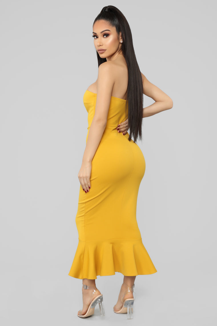 Fit For The Occasion Midi Dress - Mustard