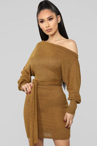 Forever Mine Sweater Mini Dress - Mustard