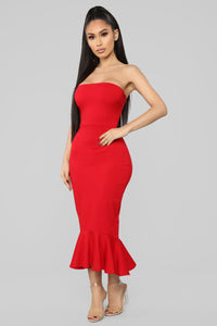 Fit For The Occasion Midi Dress - Red