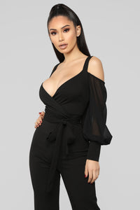 Falling For Your Charm Jumpsuit - Black Angle 2