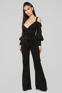 Falling For Your Charm Jumpsuit - Black Angle 1