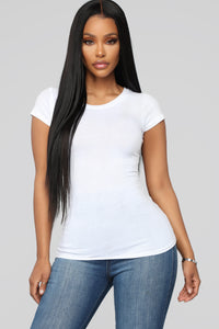 Lily Crew Neck Top - White