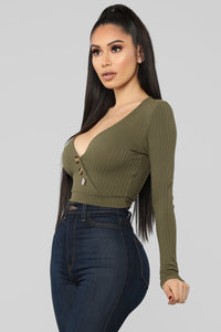Love Spell Surplice Top - Olive Angle 3