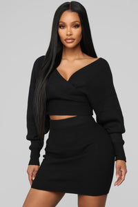 Cuddle Me Now Skirt Set - Black
