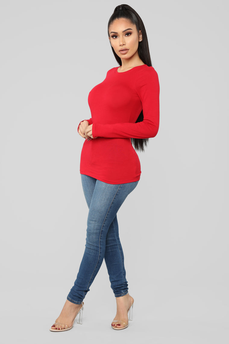 Crew Neck Long Sleeve Top - Red