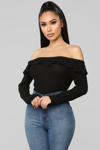 Ruffle Thoughts Off Shoulder Top - Black