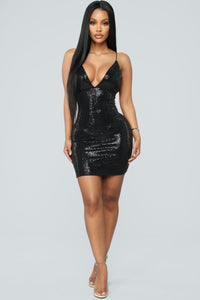 Sparkle With Me Sequin Mini Dress - Black