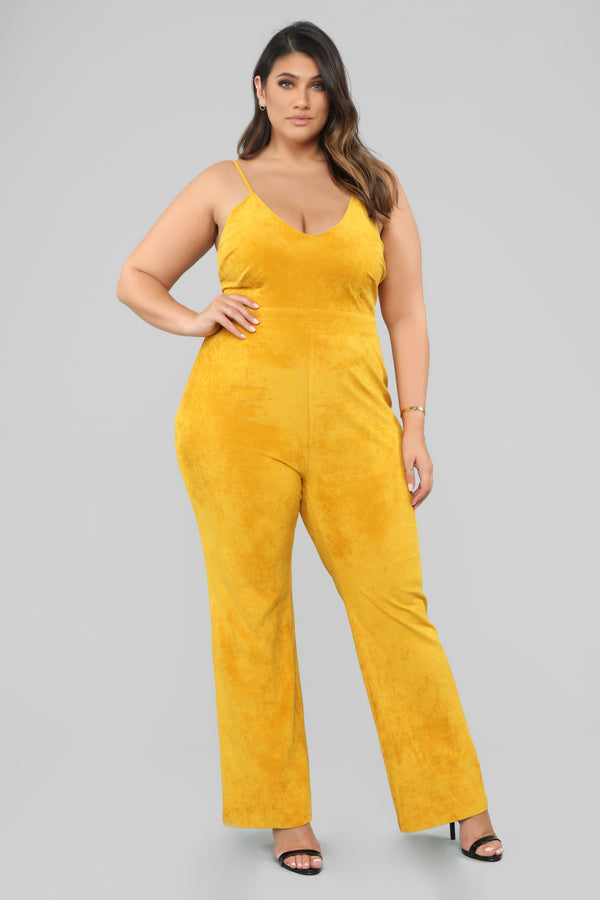 578ea07e12f Just A Fling Suede Jumpsuit - Mustard