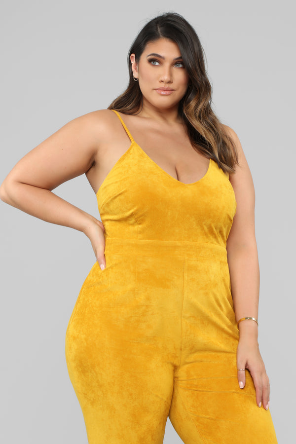2f5d48b4490 Just A Fling Suede Jumpsuit - Mustard