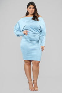 Our First Date Midi Dress - Blue Angle 5