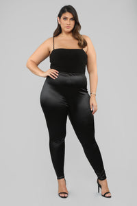 Soft Heart Satin Leggings - Black Angle 7