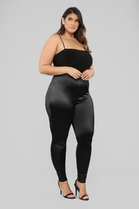 Soft Heart Satin Leggings - Black Angle 9