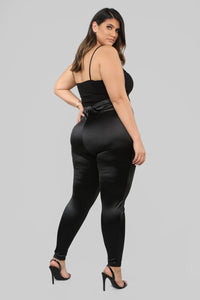 Soft Heart Satin Leggings - Black Angle 11