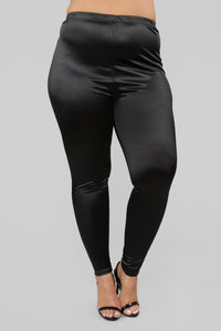 Soft Heart Satin Leggings - Black Angle 8