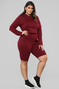 Leyla Long Sleeve Lounge Set - Burgundy Angle 11