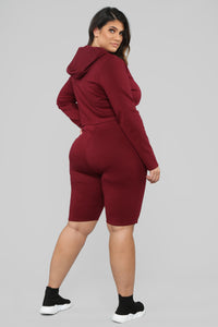 Leyla Long Sleeve Lounge Set - Burgundy Angle 13