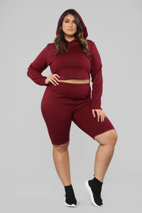 Leyla Long Sleeve Lounge Set - Burgundy Angle 9