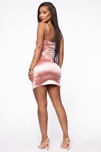 High Class Sass Satin Mini Dress - Pink Angle 3