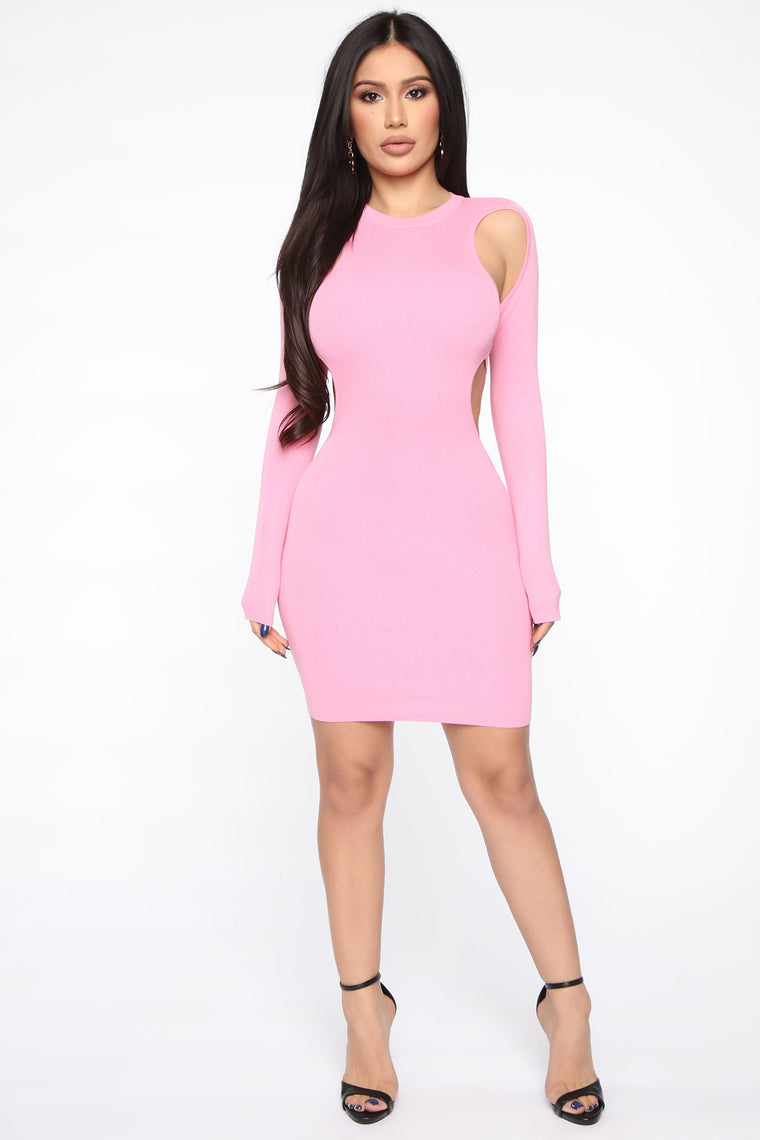 Compelling You Sweater Cut Out Mini Dress - Pink