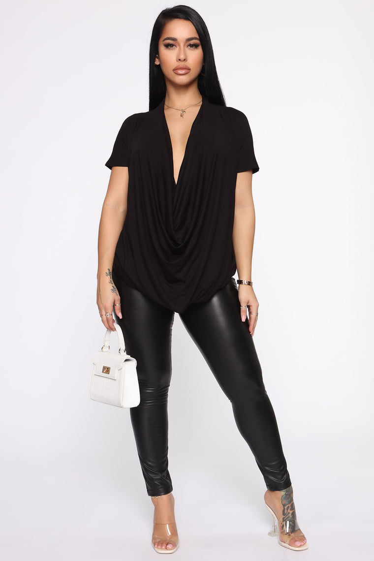Cowl Hearted Top - Black