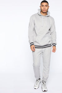 Simple Striped Hem Hoodie - Heather Grey Angle 2