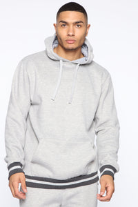 Simple Striped Hem Hoodie - Heather Grey Angle 1