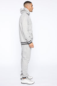 Simple Striped Hem Hoodie - Heather Grey Angle 3