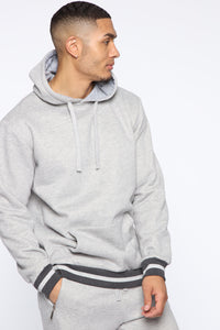Simple Striped Hem Hoodie - Heather Grey Angle 4