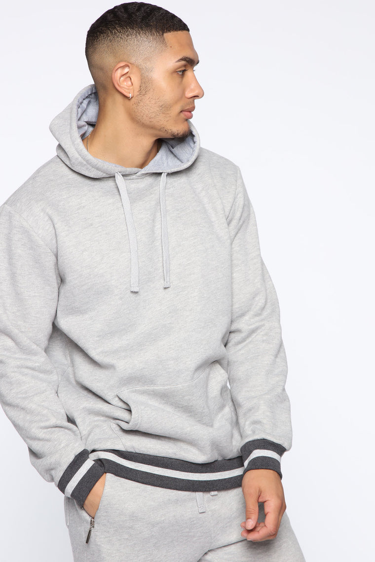 Simple Striped Hem Hoodie - Heather Grey