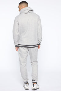 Simple Striped Hem Hoodie - Heather Grey Angle 5