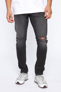 Born To Win Distressed Slim Taper Jean - Black Angle 1