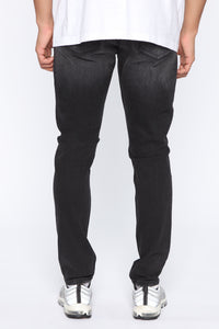 Born To Win Distressed Slim Taper Jean - Black Angle 5
