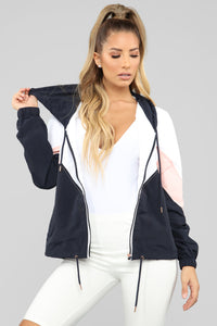 Dress Like Jess Windbreaker Jacket - Navy/Blush