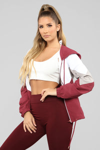 Dress Like Jess Windbreaker Jacket - Burgundy/Combo