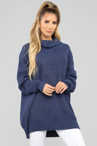 Michelle Turtle Neck Sweater - Blue