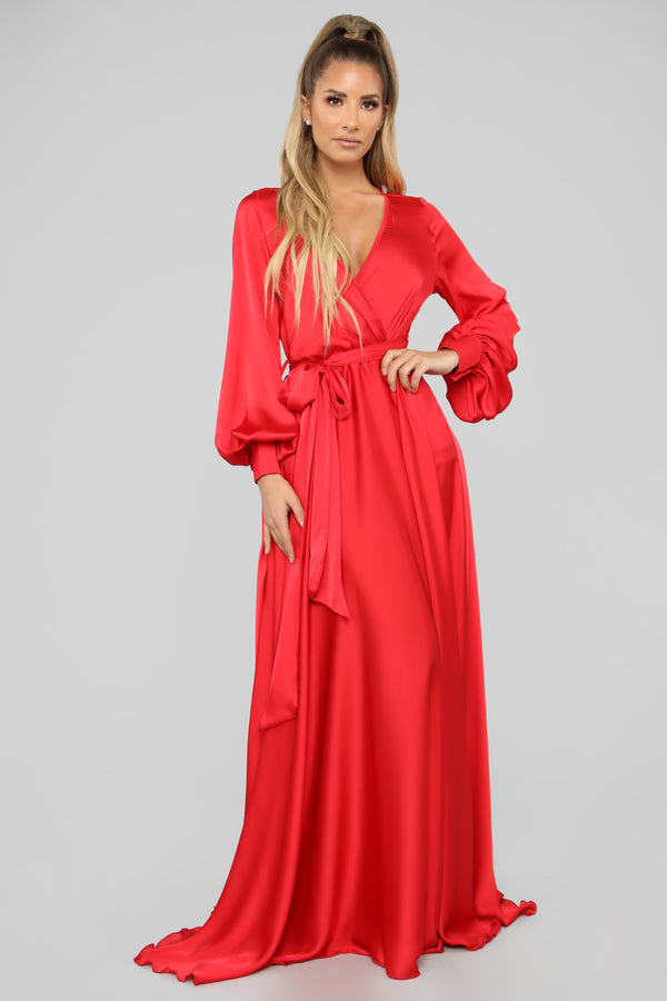 18388dc8d3 Find Me In My Mansion Satin Maxi Dress - Red