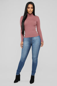 Ribbed Turtleneck Top - Pink