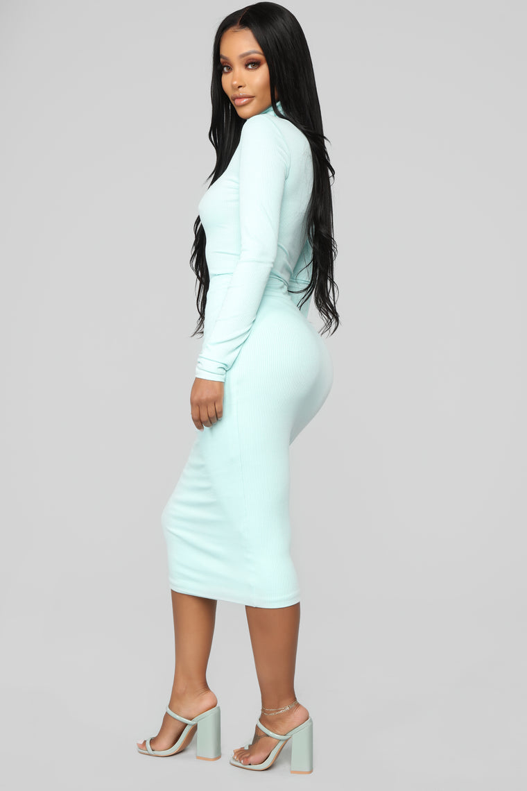 Girl Code Ribbed Skirt Set - Mint