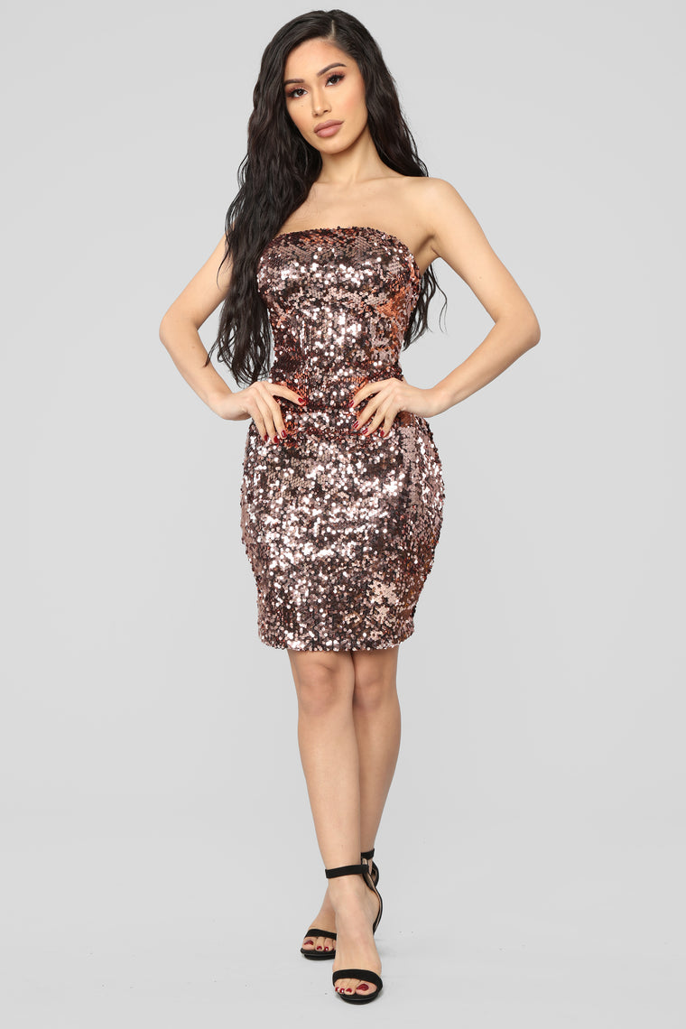 Midnight Magic Sequin Mini Dress - Rose Gold