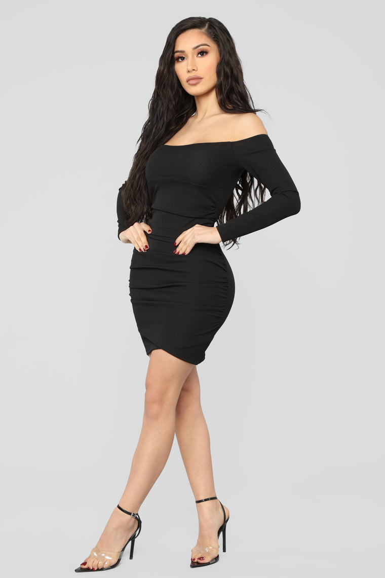 Ruched And Ready To Rock Mini Dress - Black