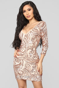 Getting You Close Sequin Dress - Rose Gold