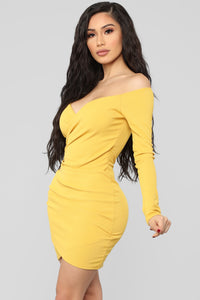 Craving You Off Shoulder Dress - Yellow