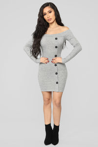 Making An Appearance Mini Dress - Heather Grey